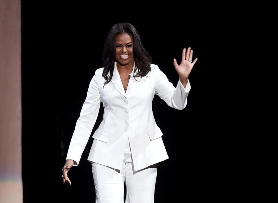 Michelle Obama greeted the crowd at a stop at the Forum in Inglewood, Calif.