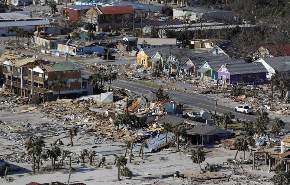 This Oct. 12, 2018, aerial file photo shows devastation from Hurricane Michael over Mexico Beach, Fla.