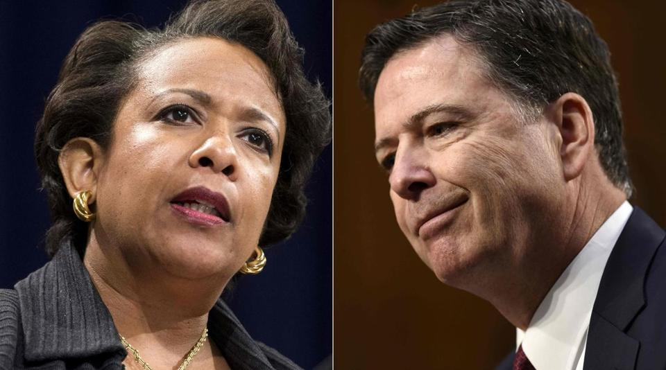 Former attorney general Loretta Lynch and former FBI director James Comey.