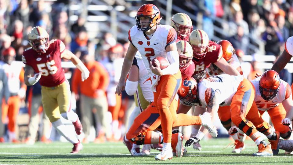 CHESTNUT HILL, MA - NOVEMBER 24: Quarterback Eric Dungey #2 of the Syracuse Orange rushes for a touchdown at the end of the second quarter of the game against the Boston College Eagles at Alumni Stadium on November 24, 2018 in Chestnut Hill, Massachusetts. (Photo by Omar Rawlings/Getty Images)