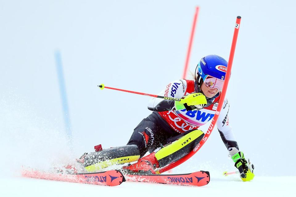 Making her way through the fog, Mikaela Shiffrin skis the first run of the women's slalom at Killington.