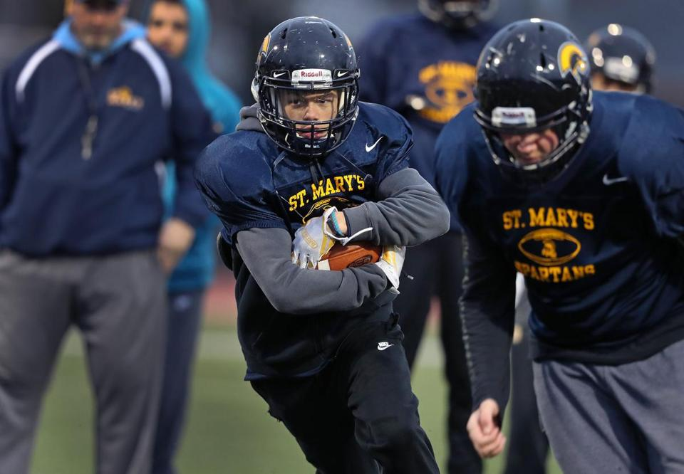 Lynn, MA 11-26-18: St. Mary's of Lynn running back Jalen Echevarria is pictured at a practice session held at Manning Field. (Jim Davis/Globe Staff)