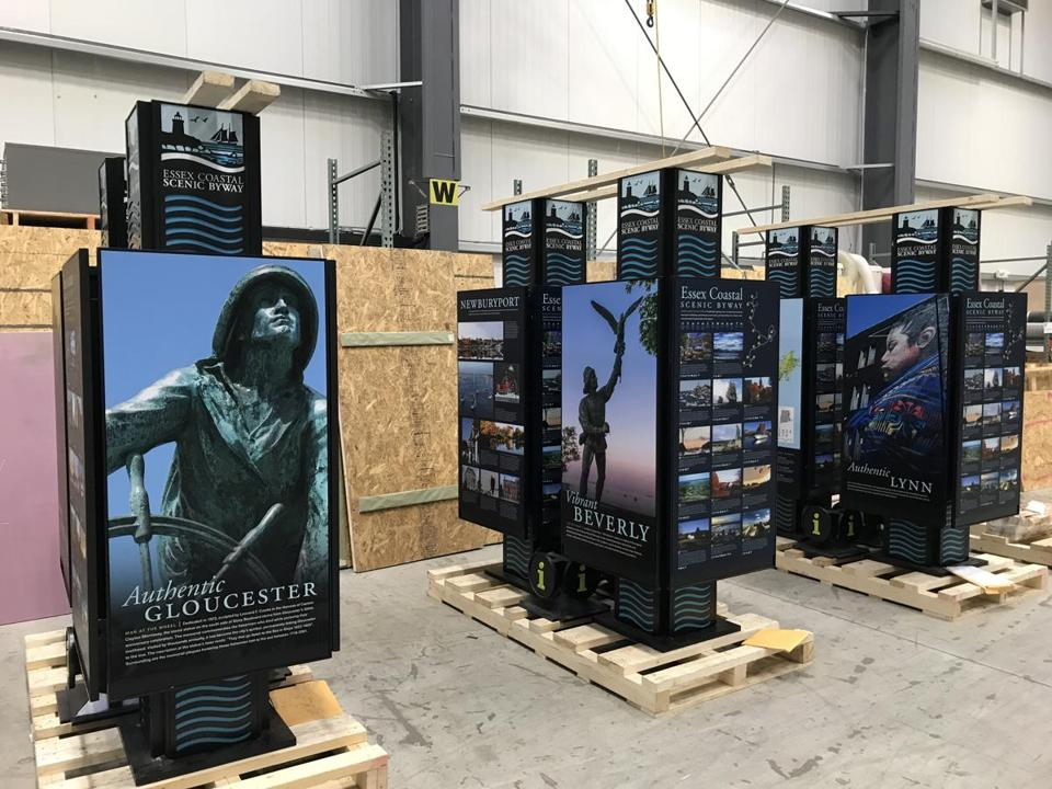 02noinformer -- Visitor kiosks for the Essex Coastal Scenic Byway were ready to be shipped around the North Shore from the DCL workshop in Avon, where they were fabricated, on Nov. 16, 2018. (Brian Pearce)