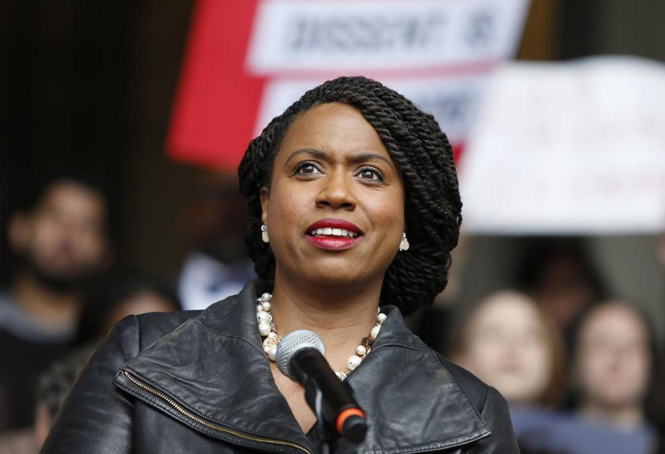 Ayanna Pressley, the democratic winner of the Massachusetts 7th congressional district speaks at a rally at City Hall against Judge Brett Kavanaugh, Monday, Oct. 1, 2018, in Boston. (AP Photo/Mary Schwalm)