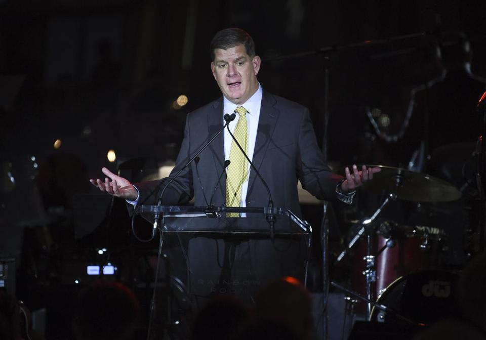 "Boston Mayor Martin ""Marty"" Walsh speaks at the Facing Addiction with NCADD (National Council on Alcoholism and Drug Dependence) gala at the Rainbow Room on Monday, Oct. 8, 2018, in New York. (Photo by Evan Agostini/Invision/AP)"