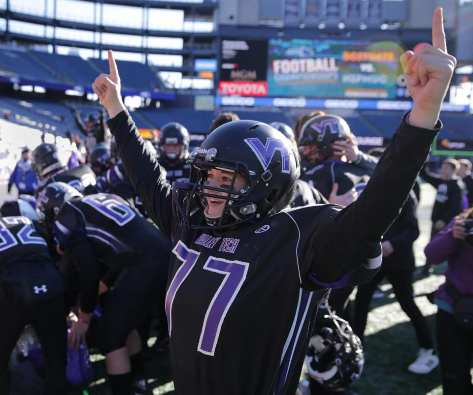 Blackstone Valley Tech's Juliet Slobogan celebrates the team's win in the Division 7 Super Bowl against St. Mary's of Lynn.