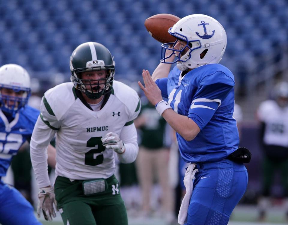 12/01/2018 Foxborough Ma- Scituate QB #11 Aidan Sullivan during game action at the MIAA Division 5 State Championship game between Scituate Sailors and Nipmuc Regional. Jonathan Wiggs /Globe Staff Reporter:Topic: