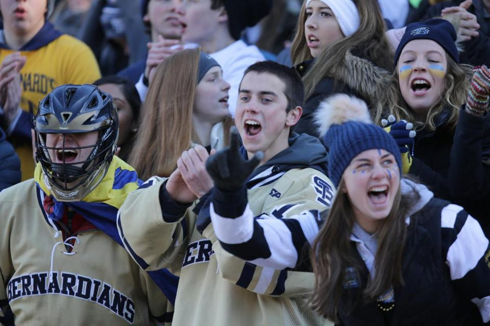 St. Bernard's fans cheer on their team in the MIAA Dvision 8 Super Bowl at Gillette Stadium