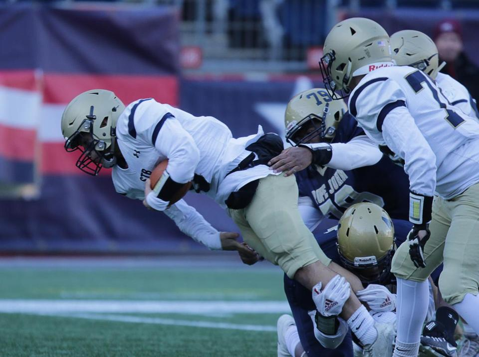12/01/2018 Foxborough Ma-St Bernard's #6 Domenic Cuevas (cq) falls forward for a touchdown during game action, in the MIAA Division 8 State Championship game aganist Pope John XXIII.Jonathan Wiggs /Globe Staff Reporter:Topic: