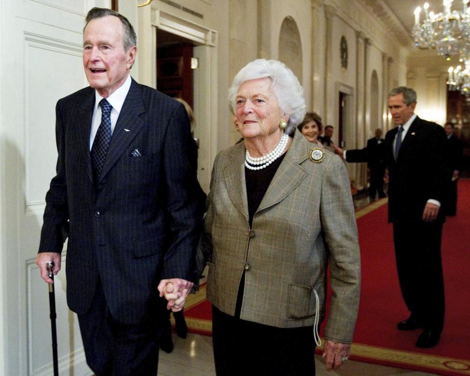 George H W Bush A Cartoon Features Bush Barbara Bush And Their