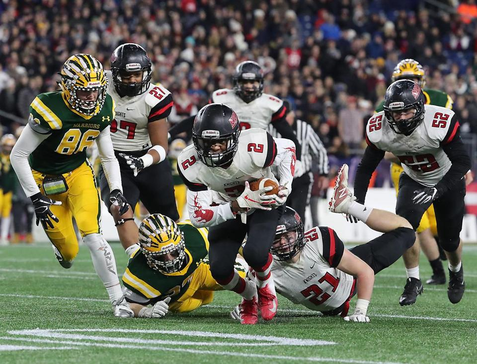 Foxborough MA 11/30/18 North Andover Darren Watson recovers a fumble against King Philip during first half action of the MIAA Division 1 State Championship at Gillette Stadium. (photo by Matthew J. Lee/Globe staff) topic: 01schbowl reporter: Nathaniel Weitzer