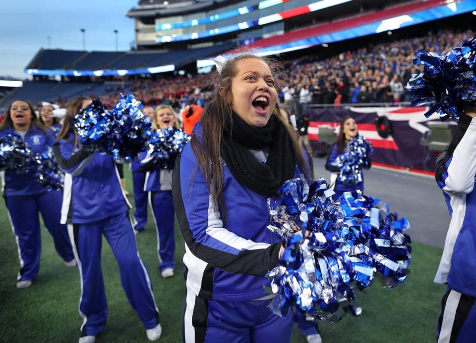 Gillette-12/1/18 Stoneham High School cheerleader Autumn Bardell is a junior cheerleader with Fragile X syndrome which is on the autism spectrum. She cheers on the sidelines. It was her first time in the stadium as her team played Old Rochester in the Div. 6 Superbowl. superbowls at Gillette Stadium- Photo by John Tlumacki/Globe Staff(sports)