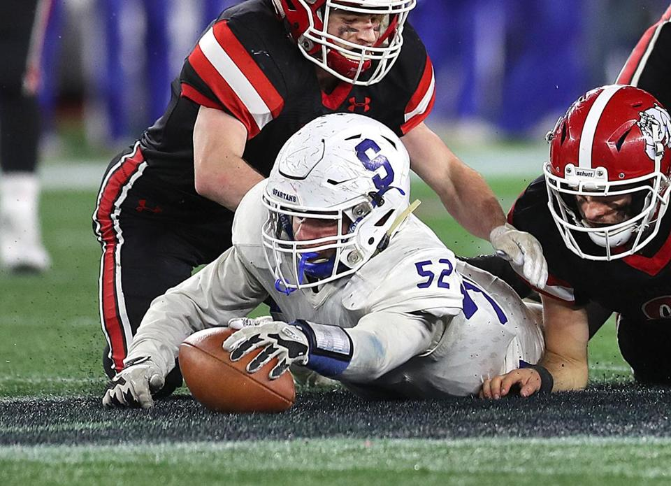 Gillette-12/1/18 High School superbowls at Gillette Stadium- Stoneham vs Old Rochester. Stonehams Antonio Ventresca recovers a 4th qtr fumble. Photo by John Tlumacki/Globe Staff(sports)