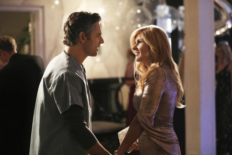 "Eric Bana as John Meehan and Connie Britton as Debra Newell in Bravo's hit series ""Dirty John."""