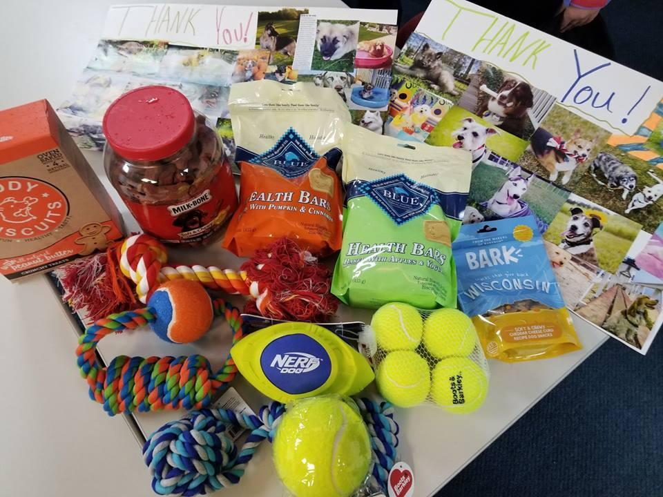 The treats and toys Olivia Feil, 9, bought for the MSP K-9 unit.