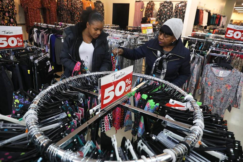Boston, MA - 12/4/18 - Jermeaka Thomas (cq), left, and her mother Bernice Kiser (cq), both of Boston, shop the sale. Fallas (cq), a discount department store in Dorchester, is closing. Photo by Pat Greenhouse/Globe Staff Topic: 05discountMetro Reporter: Janelle Nanos