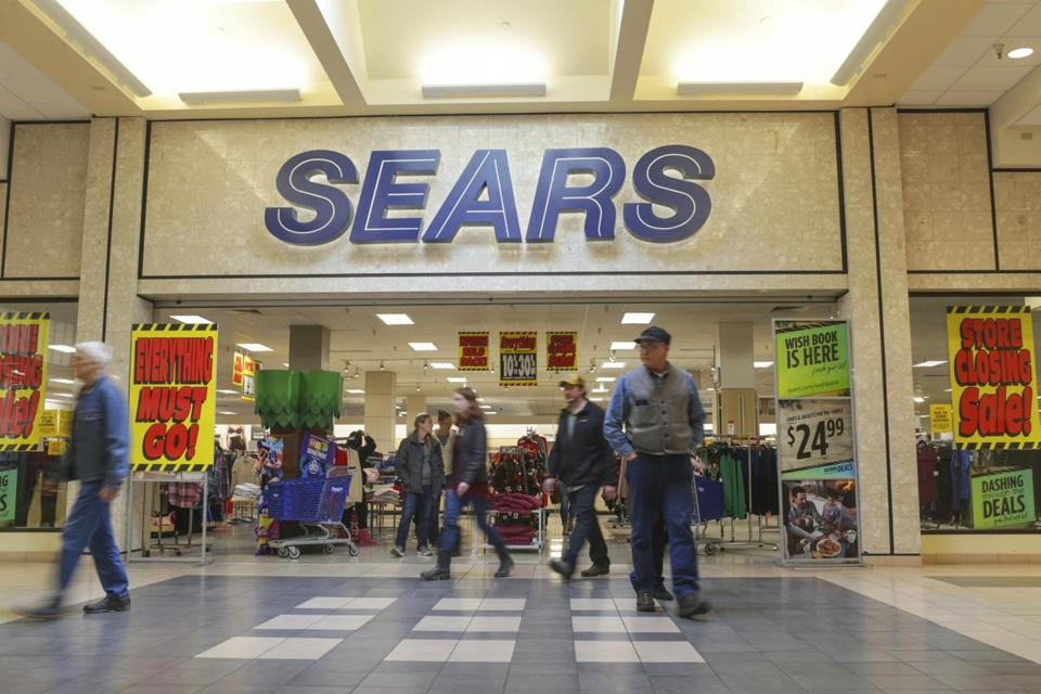 A Sears department store with store closing signs at the Grand Teton Mall in Idaho Falls, Idaho.