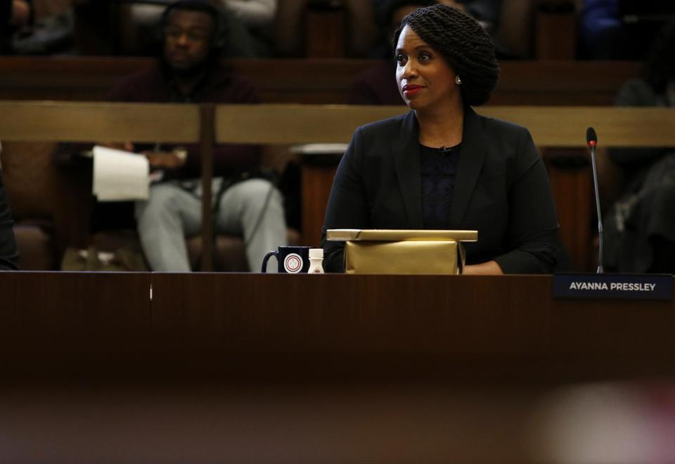 Boston, MA, 12/5/2018 -- Congresswoman-elect Ayanna Pressley listens as a fellow City Councilor wishes her farewell at City Hall. (Jessica Rinaldi/Globe Staff) Topic: 06ayanna Reporter: