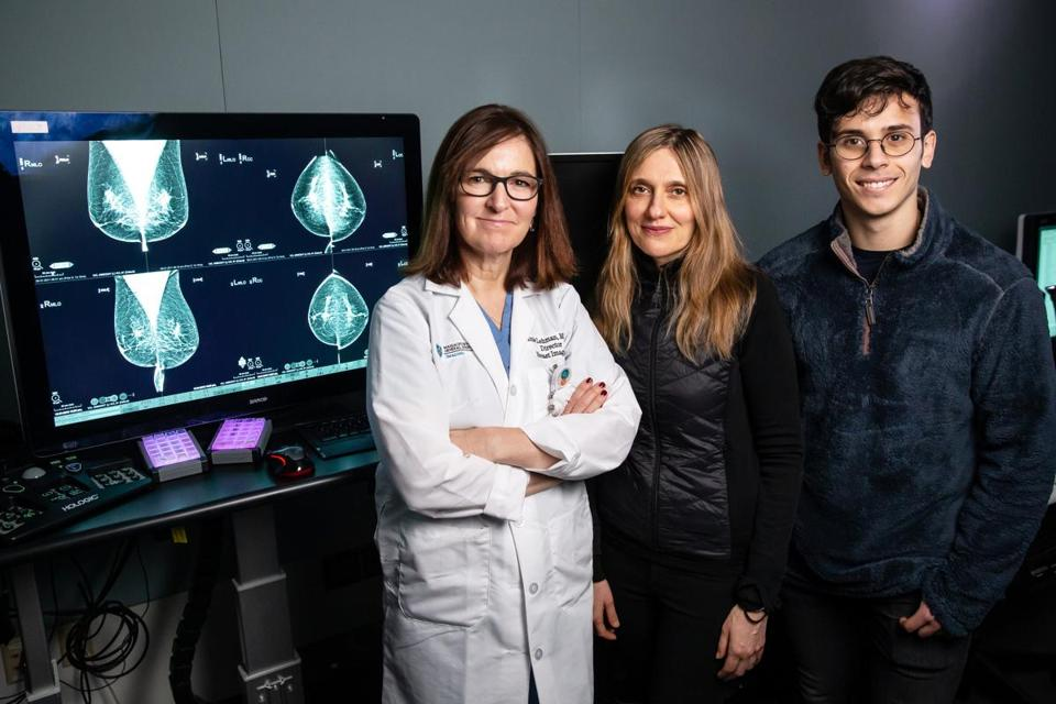 12/05/2018 BOSTON, MA L-R Drs. Connie Lehman (cq) and Regina Barzilay (cq), along with doctoral student Adam Yala (cq), at MGH reviewing deep learning applications in breast cancer detection at Massachusetts General Hospital in Boston. (Aram Boghosian for The Boston Globe)
