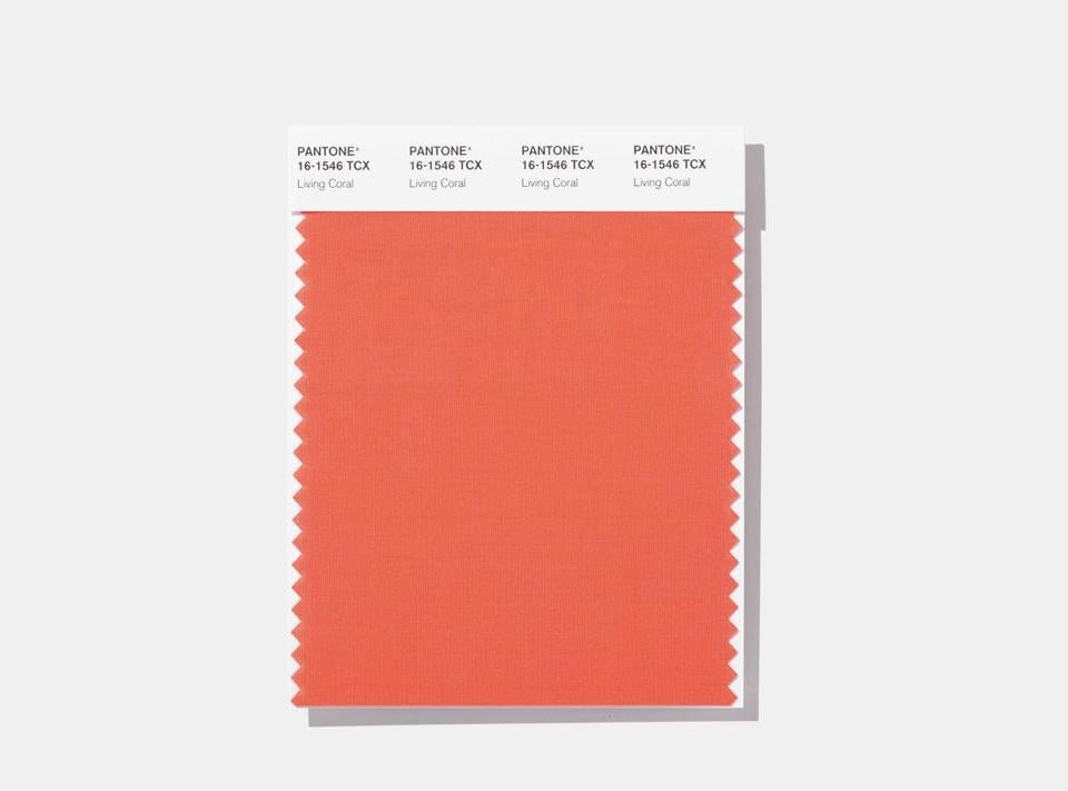 A swatch featuring Living Coral, which the Pantone Color Institute has chosen as its 2019 color of the year.