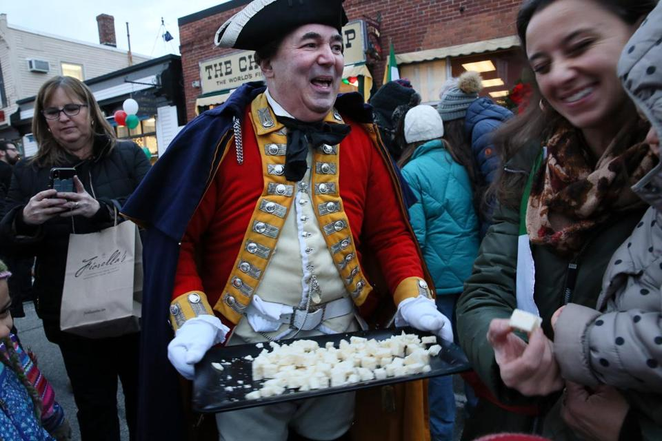 Re-enactor Lenny Torto of His Majesty's Tenth Regiment of Foot offered cheese samples to the crowd.