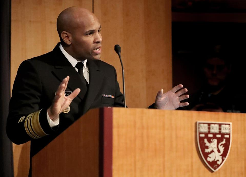 The surgeon general, Vice Admiral Jerome Adams, spoke at Harvard for a two-day summit on opioids.
