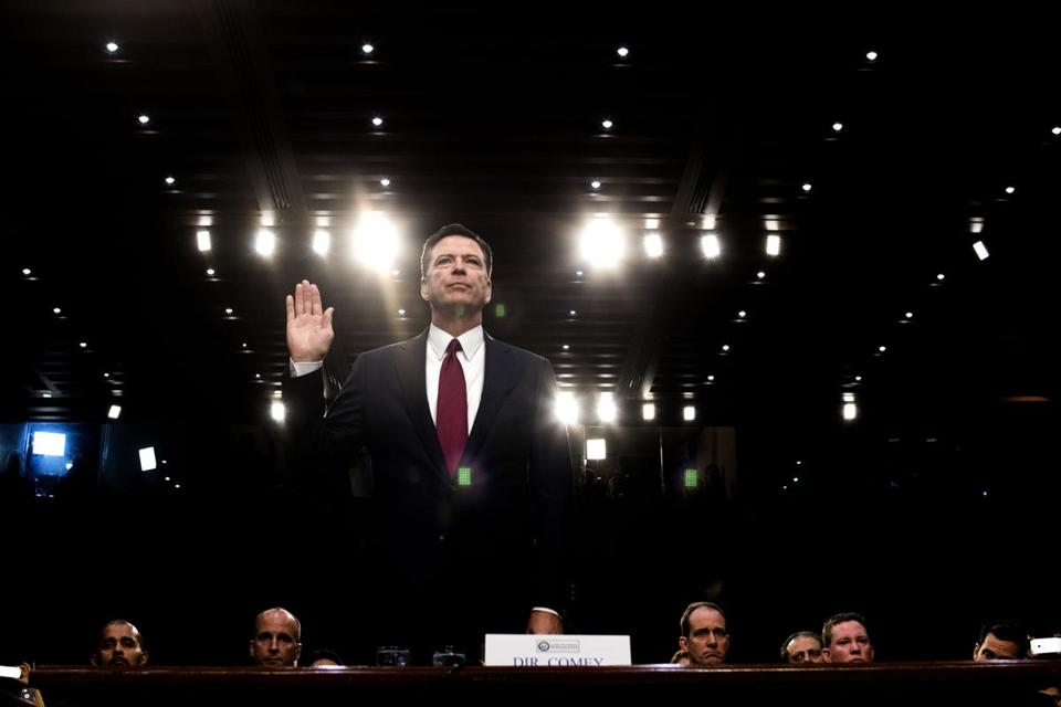 FILE -- James Comey, the former FBI director, prepares to testify before a Senate committee on Capitol Hill in Washington, June 8, 2017. Comey has reached an agreement with House Republican lawmakers to testify behind closed doors about investigations into Hillary Clinton's email server and whether President Donald Trump's campaign advisers colluded with the Russian government to steer the outcome of the 2016 presidential election, he said on Twitter. (Doug Mills/The New York Times)