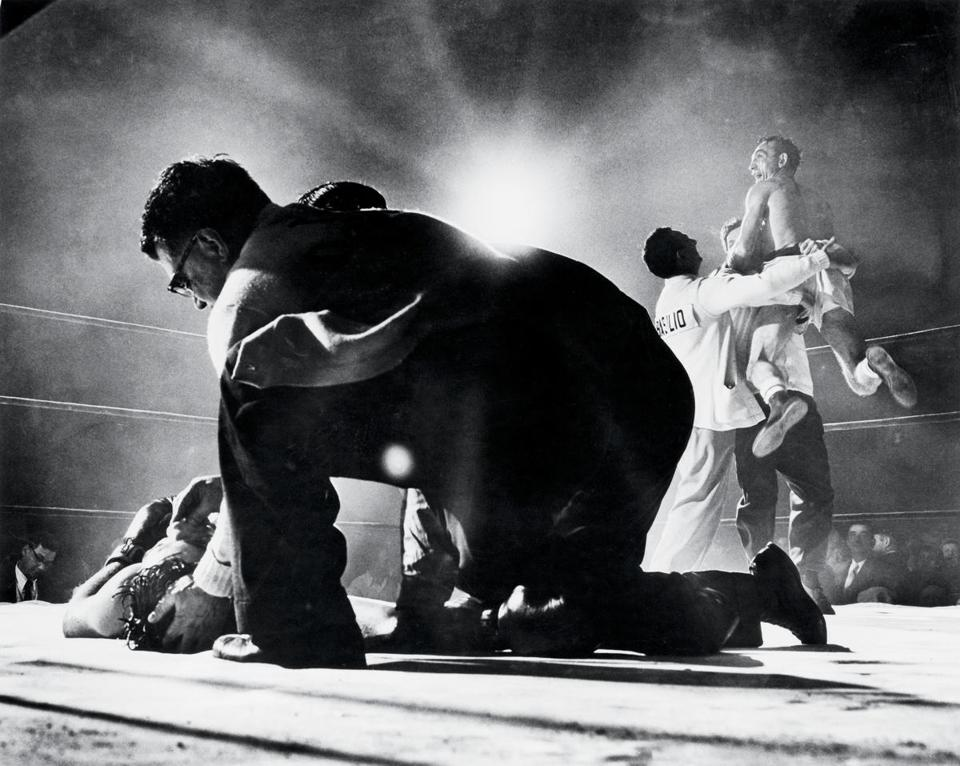 Carmen Basilio celebrated with his cornermen after knocking out Tony DeMarco at Boston Garden in 1955.