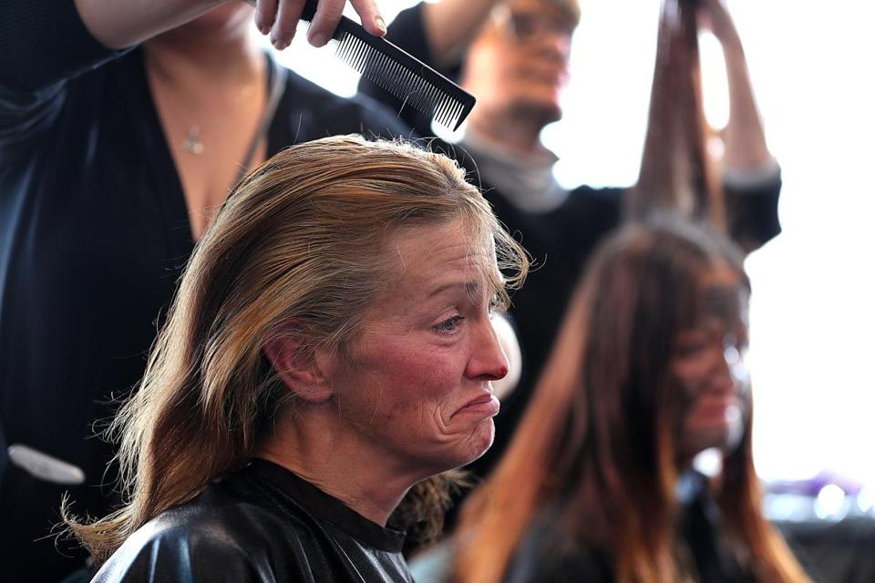 Cathy Corbett got her hair cut at HER Saturday, a weekly event from the Boston Health Care for the Homeless Program.