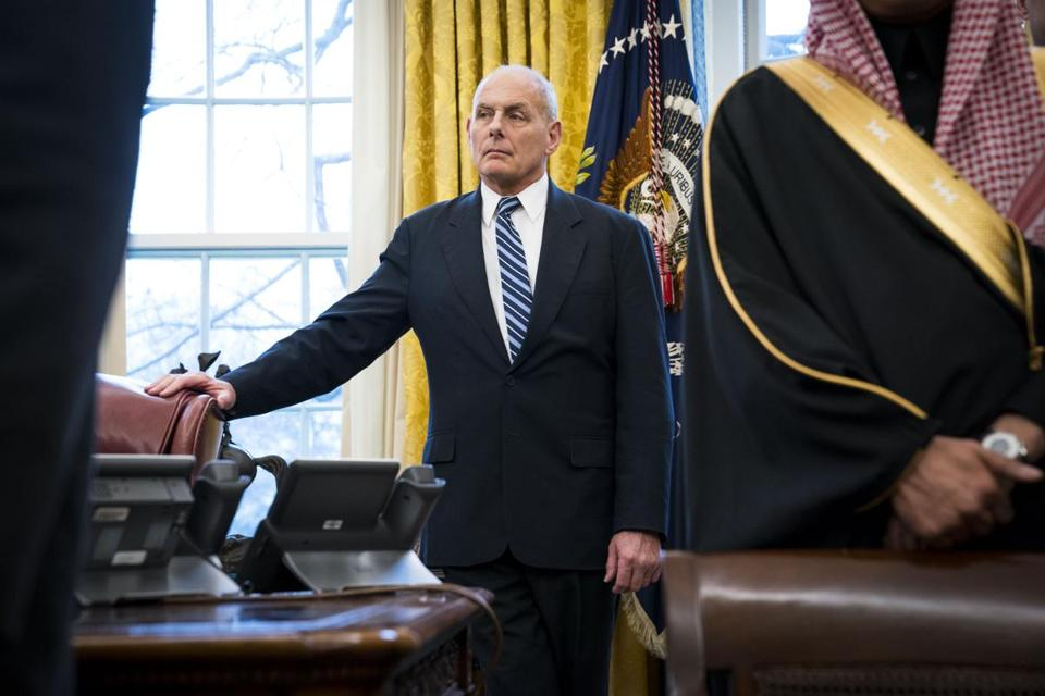 """John Kelly (above) will be leaving — I don't know if I can say 'retiring,' "" President Trump said Saturday."