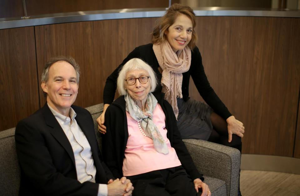 Mistral ensemble cofounders Julie Scolnik and her husband, Michael Brower, visit Ingrid Christiansen (center), who was resuscitated at a recent Mistral concert. (Jonathan Wiggs/Globe Staff)