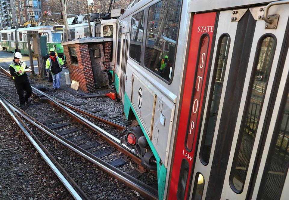 A Green Line train derailed at Boston University on Commonweath Avenue on Saturday.