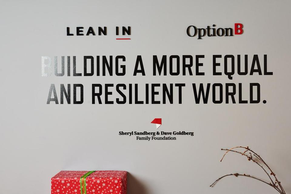 A sign in the offices of Lean In. Sheryl Sandberg's message largely won over the feminist mainstream, and she became one of its best-known leaders.