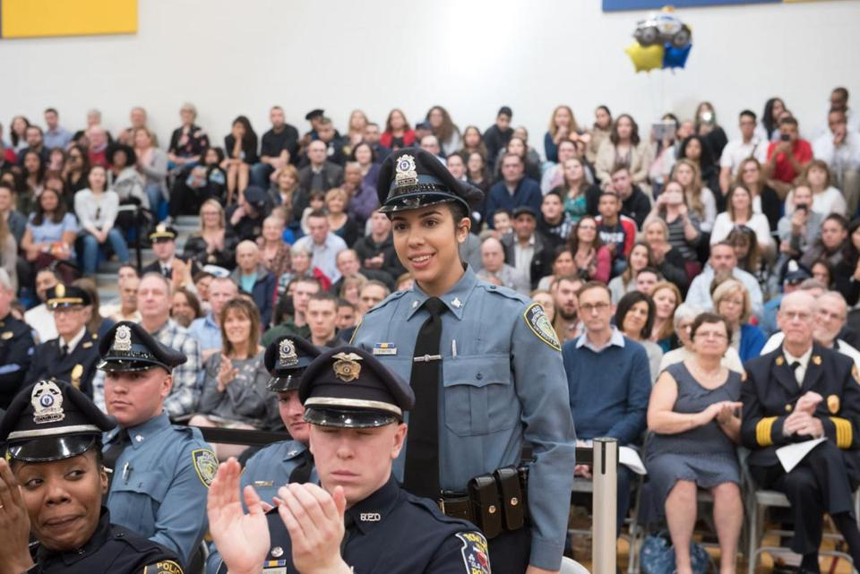 Officer Amanda Santos, in her UMass Amherst police uniform, has joined the Burlington Police Department.