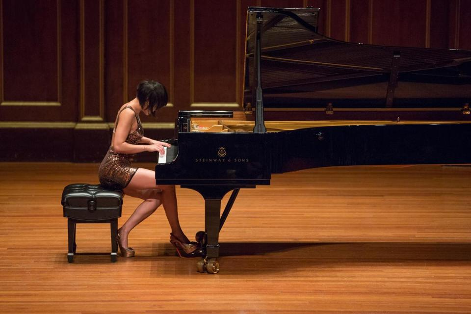 Best solo recital: Pianist Yuja Wang performing at Jordan Hall.
