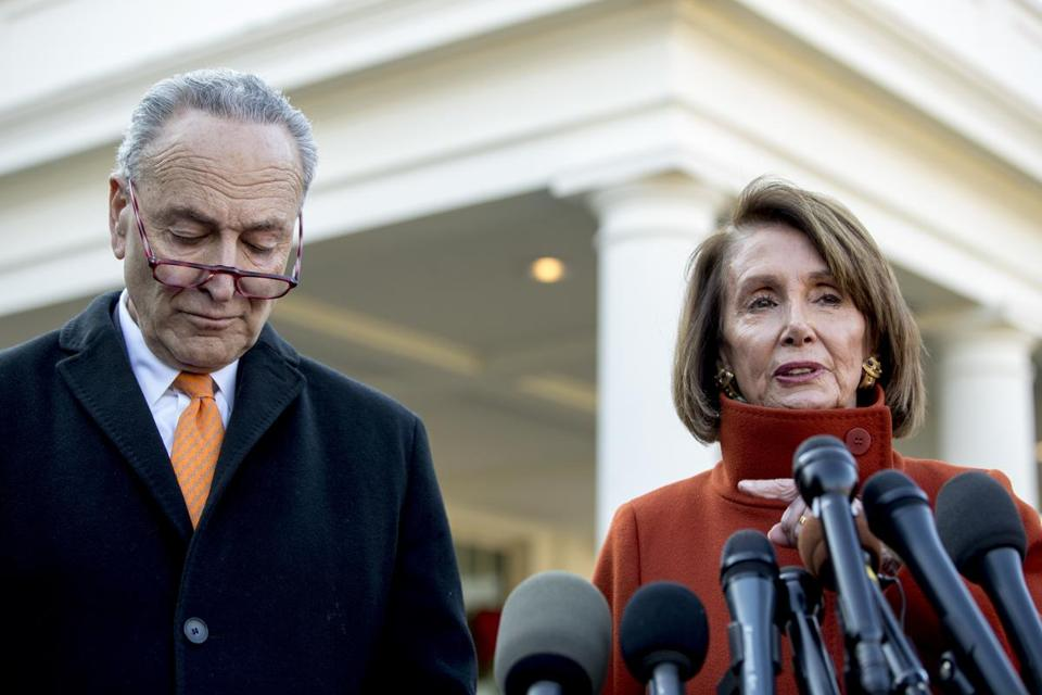 House Minority Leader Nancy Pelosi and Senate Minority Leader Chuck Schumer spoke to reporters outside of the West Wing.