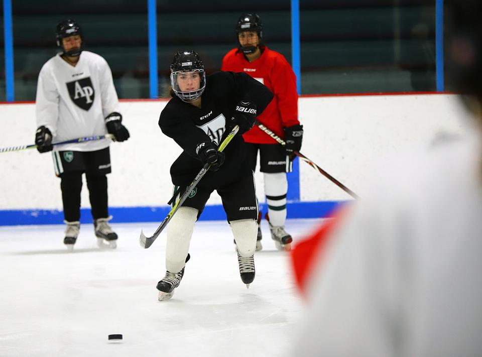 Austin Prep's Francesca Frelick, during practice, Tuesday morning, at Stoneham Arena. Frelick and her team is one of the favorites to win the Division 1 title. Mark Lorenz for the Boston Globe.
