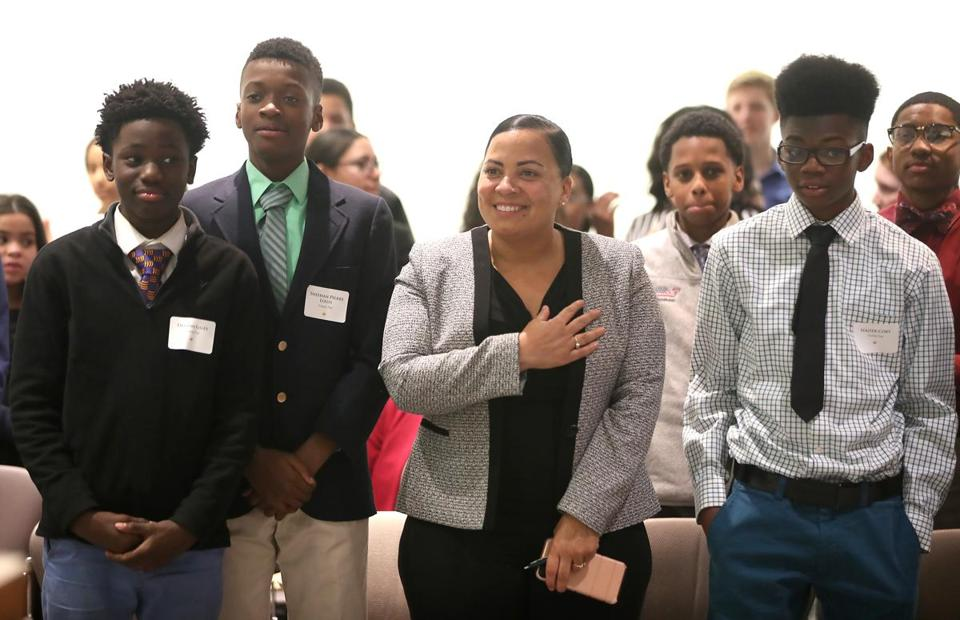 Rachael Rollins joined Nativity Preparatory School students during mock trials at the Moakley Federal Courthouse.