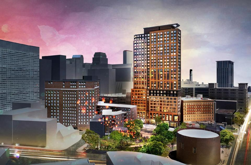An architectural rendering shows the residential project that would replace a city-owned parking lot on Tremont Street.