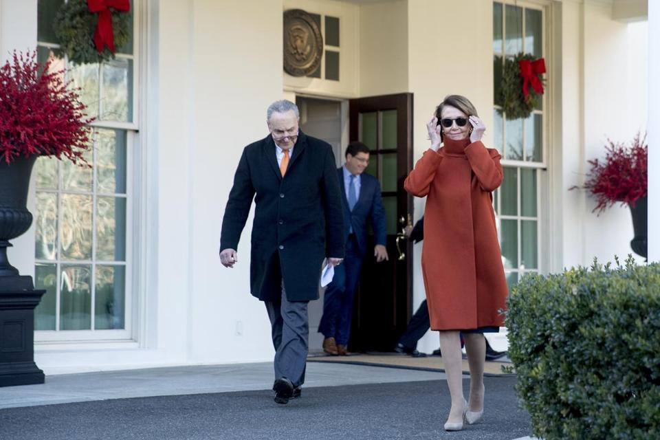 Senate minority leader Senator Chuck Schumer and House minority leader Nancy Pelosi left the White House on Tuesday after meeting with President Trump.