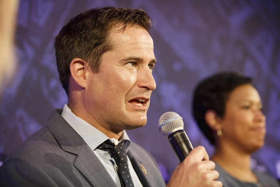 Rep. Seth Moulton, D-Mass., has received criticism over his opposition to House Minority Leader Nancy Pelosi, D-Calif., becoming speaker of the House. MUST CREDIT: Bloomberg photo by Patrick T. Fallon