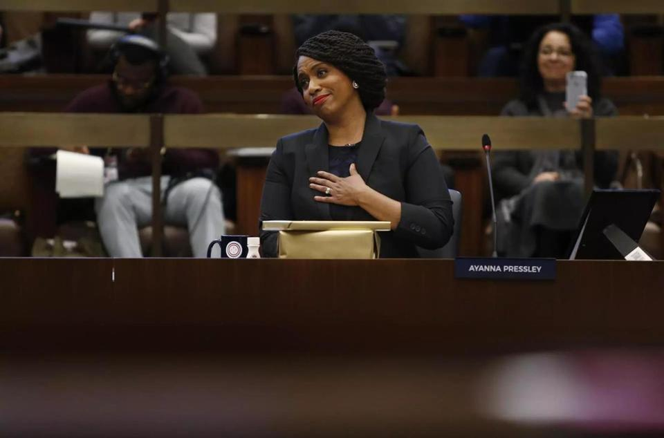 Congresswoman-elect Ayanna Pressley attended her final City Council meeting Tuesday.
