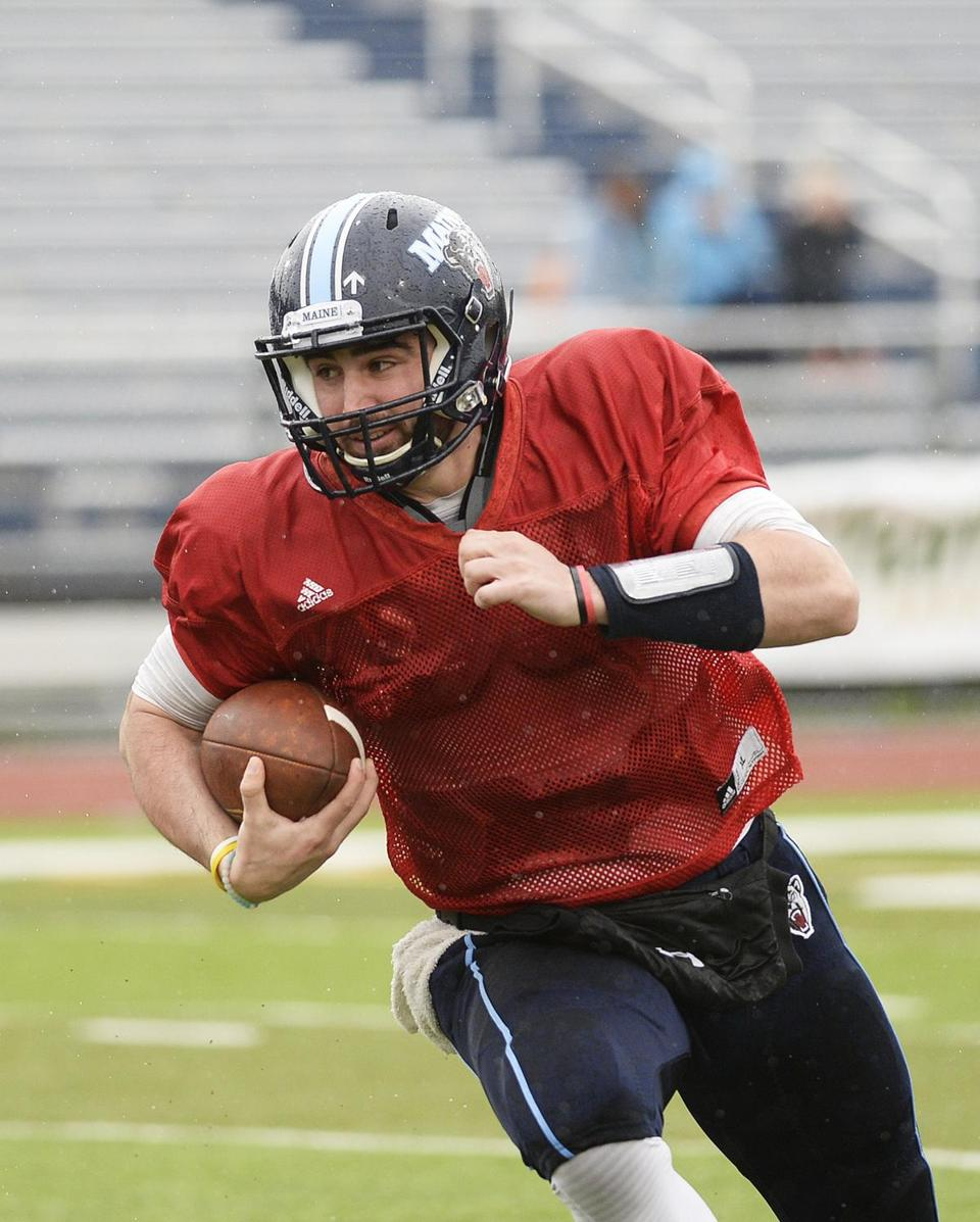 Reading's Drew Belcher made the switch from quarterback to tight end for the Black Bears.