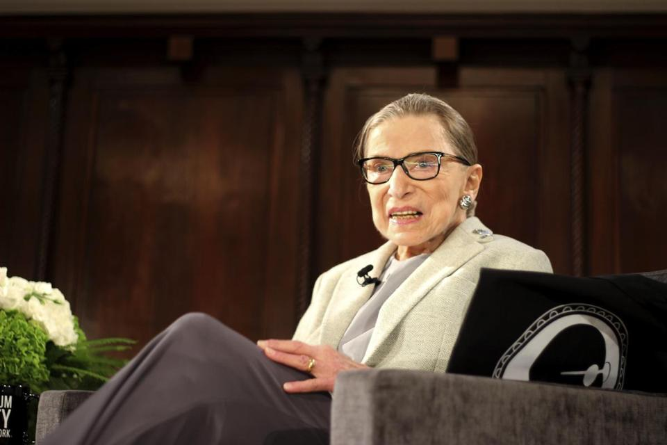 Ruth Bader Ginsburg on stage at the Museum of the City of New York on Saturday.