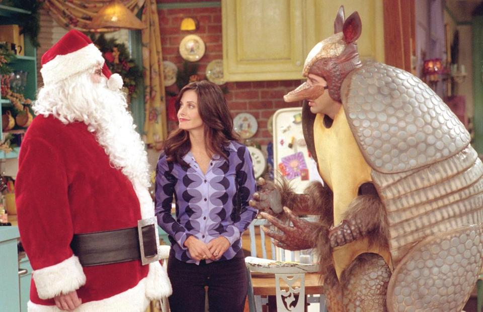 "From left, Matthew Perry, Courtney Cox, and David Schwimmer in the ""Friends"" episode ""The One With the Holiday Armadillo."""