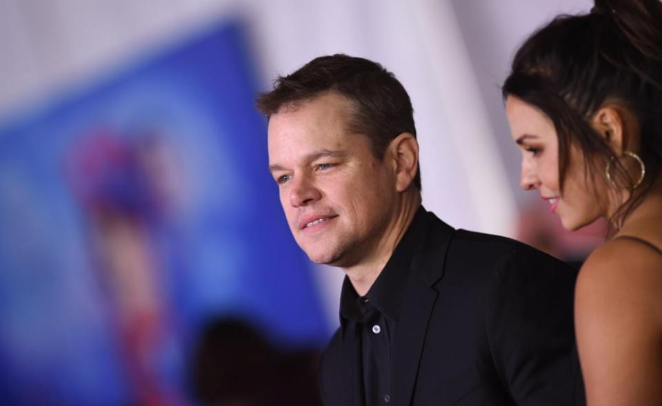 "US actor Matt Damon and his wife Luciana Barroso arrive for the world premiere of Disney's ""Mary Poppins Returns"" at the Dolby theatre in Hollywood on November 29, 2018. (Photo by VALERIE MACON / AFP)VALERIE MACON/AFP/Getty Images"