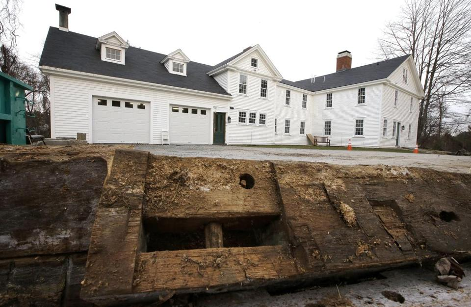 A discarded beam rested in the driveway of the home where Sarah Clayes lived, in Framingham, Mass., after leaving Salem, Mass., following the 1692 witch trials.