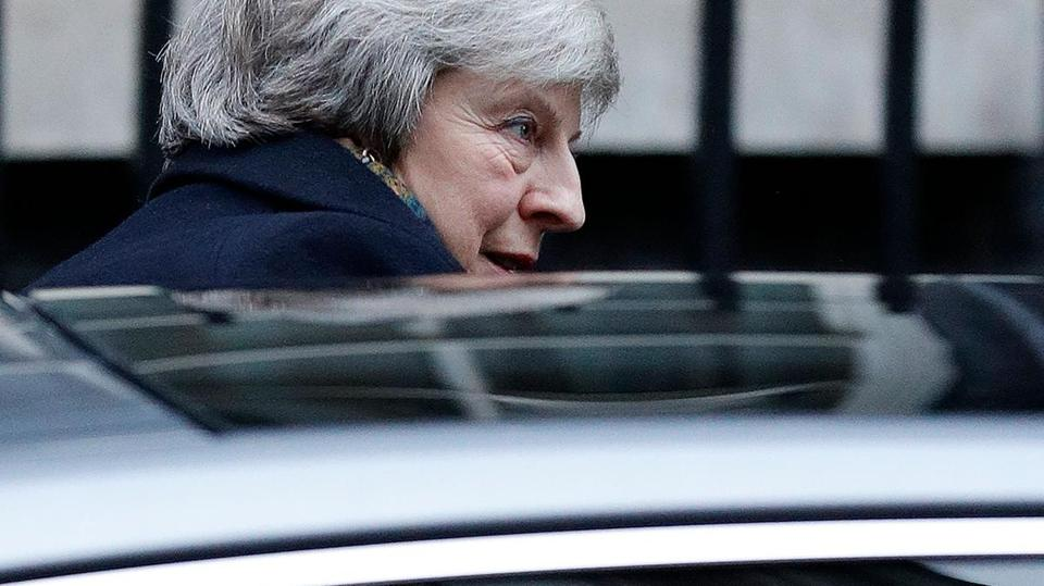 "Britain's Prime Minister Theresa May leaves from 10 Downing Street in central London on December 17, 2018 before heading to the House of Commons to make a statement on her attendance at last week's EU Summit. - Prime Minister Theresa May will on Monday warn MPs against supporting a second Brexit referendum, as calls mount for a public vote to break the political impasse over the deal she struck with the EU. ""Let us not break faith with the British people by trying to stage another referendum,"" she will tell parliament, according to extracts from her speech released by Downing Street. (Photo by Adrian DENNIS / AFP)ADRIAN DENNIS/AFP/Getty Images"