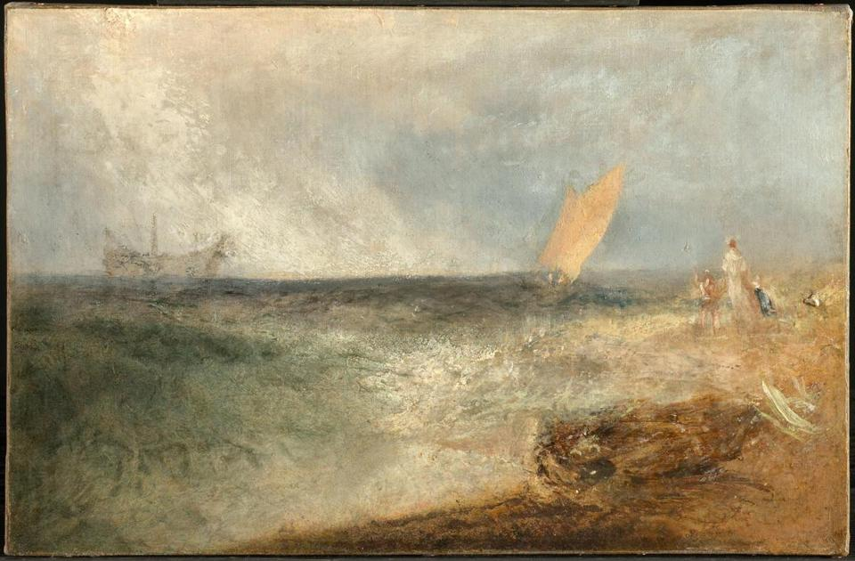 Turner and Constable: The Inhabited Landscape, on view December 15, 2018-March 10, 2019 at Clark Art Institute, Williamstown, MA. Caption: Joseph Mallord William Turner (English, 1775-1851), View off Margate, Evening, c. 1840. Oil on canvas, 12 5/8 x 19 1/4 in. The Clark Art Institute, Gift of the Manton Art Foundation in memory of Sir Edwin and Lady Manton, 2007, 2007.8.117