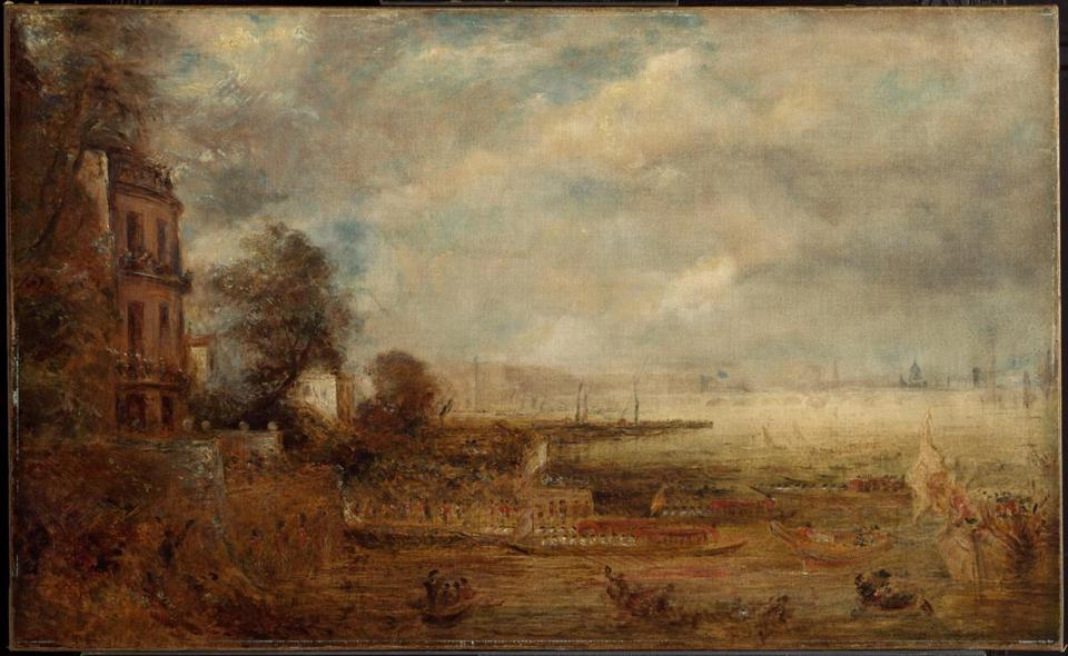 Turner and Constable: The Inhabited Landscape, on view December 15, 2018-March 10, 2019 at Clark Art Institute, Williamstown, MA. Caption: John Constable (English, 1776-1837), Waterloo Bridge Seen from Whitehall Stairs, c. 1829. Oil on canvas, 24 x 39 in. The Clark Art Institute, Gift of the Manton Art Foundation in memory of Sir Edwin and Lady Manton, 2007, 2007.8.49